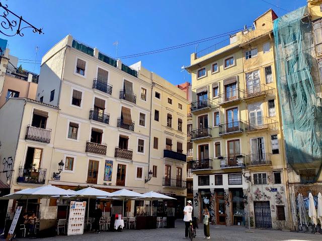 Plaza in the old historic centre of Valencia, Spain