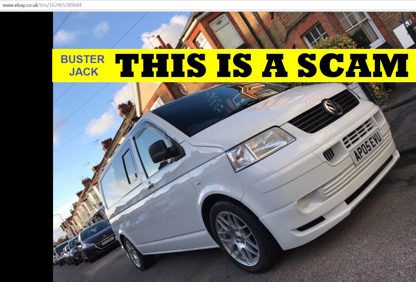 Ebay scam vw t5 transporter campervan ap05evu fx57nxt yk57pon nl59vla pe59kyk l200bah