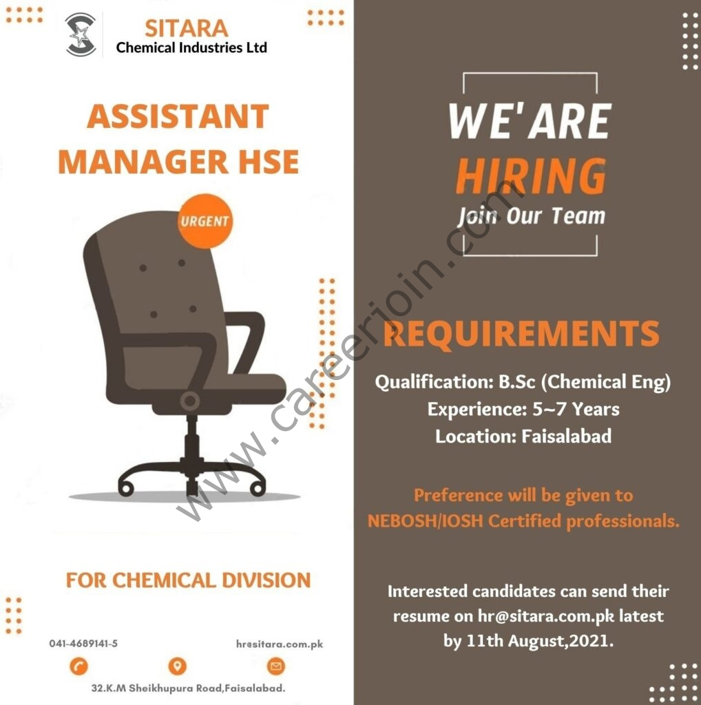 Sitara Chemical Industries Ltd Jobs Assistant Manager HSE