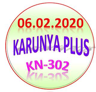 Kerala Lottery Result Karunya Plus KN-302 dated 06.02.2020
