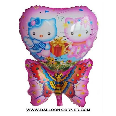 Balon Foil Karakter Hello Kitty Kupu-Kupu