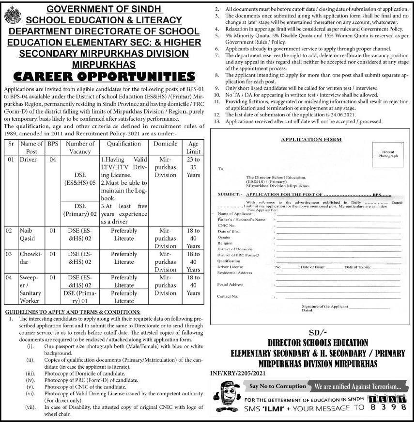 Mirpur Khas School Education & Literacy Department Jobs 2021