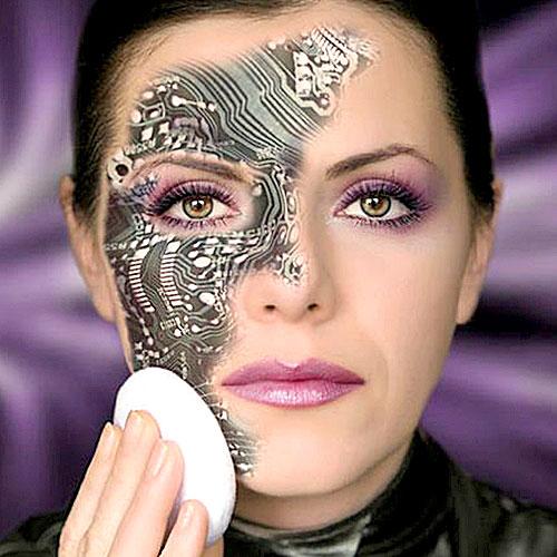 Divertido maquillaje de chica robot para Halloween
