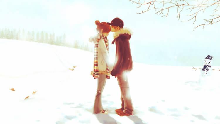 Desenho de um casal de namorados se beijando. O cenário é muito claro, parecendo que estão na neve, mas o dia está bem ensolarado.