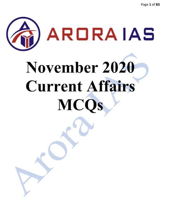Arora IAS Current Affairs MCQs (November 2020) : For UPSC Exam PDF Book