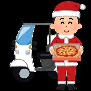 サンタの格好をしたピザの配達のイラスト