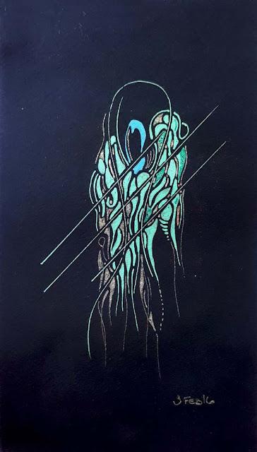 Fluorescent-green squid