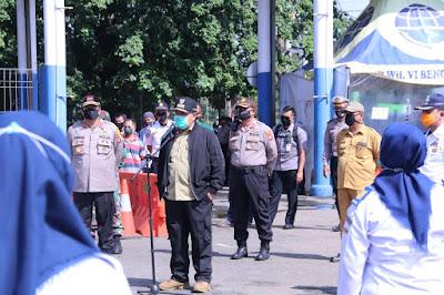 Gubernur dan Kapolda Tinjau Kesiapan Terminal Rajabasa Menghadapi Covid-19