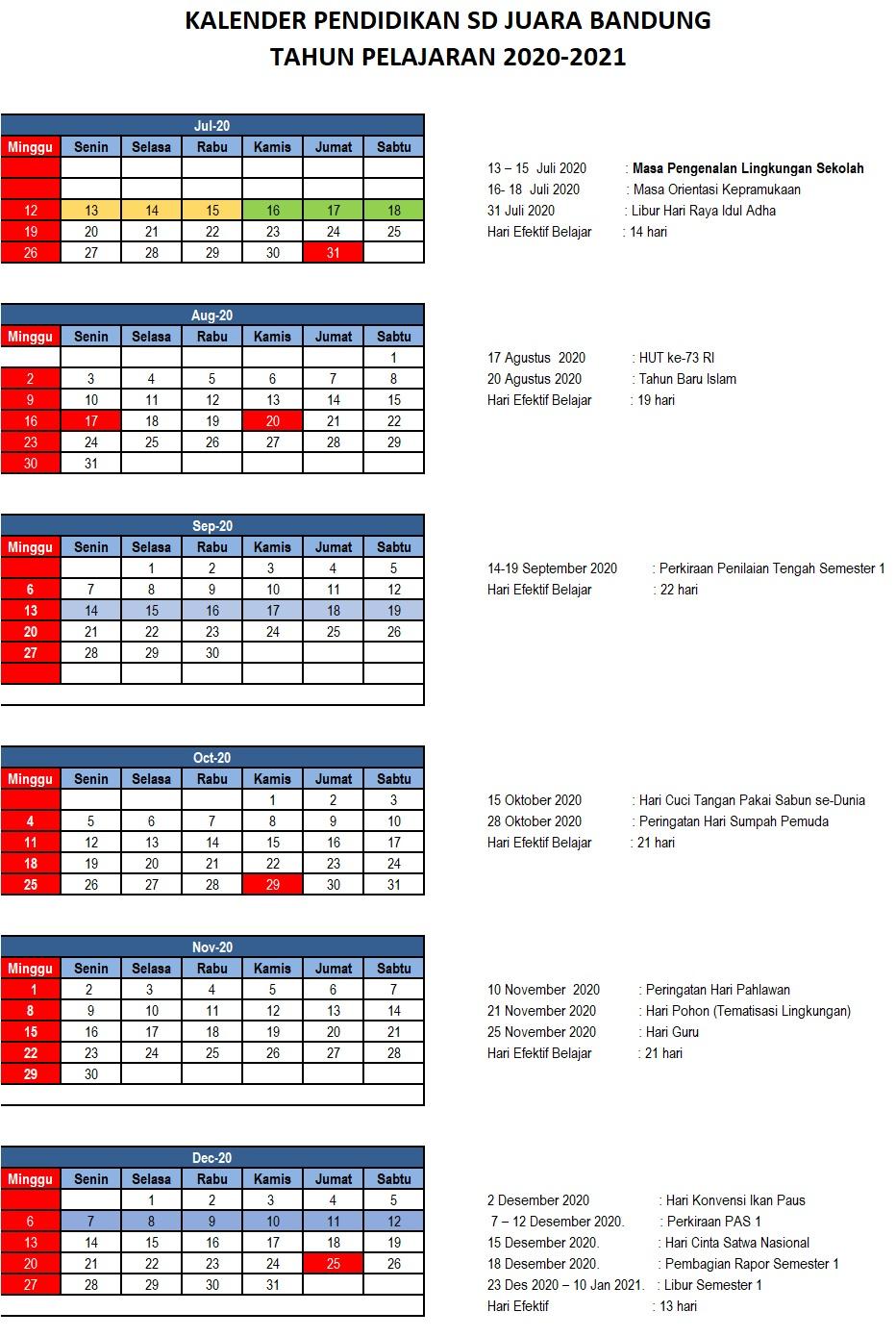 KALENDER AKADEMIK 2020-2021 - SD Juara Bandung