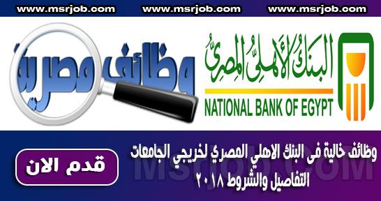 وظائف خالية فى البنك الاهلي المصري لخريجي الجامعات التفاصيل والشروط 2018