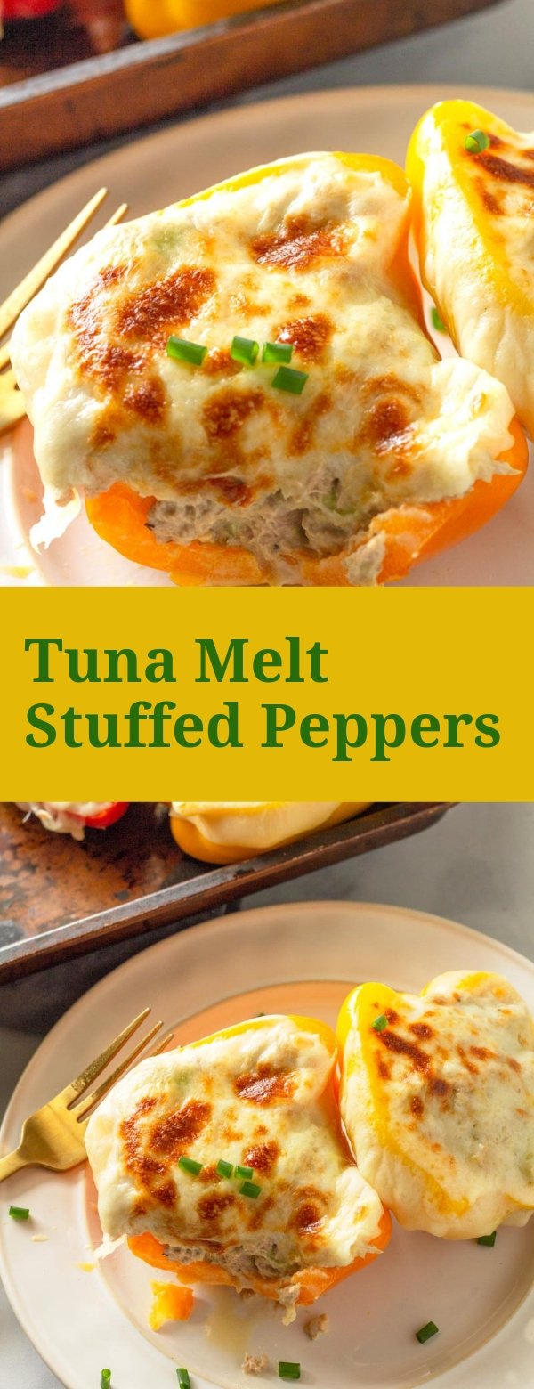 Tuna Melt Stuffed Peppers #SEAFOODS #LOWCARB