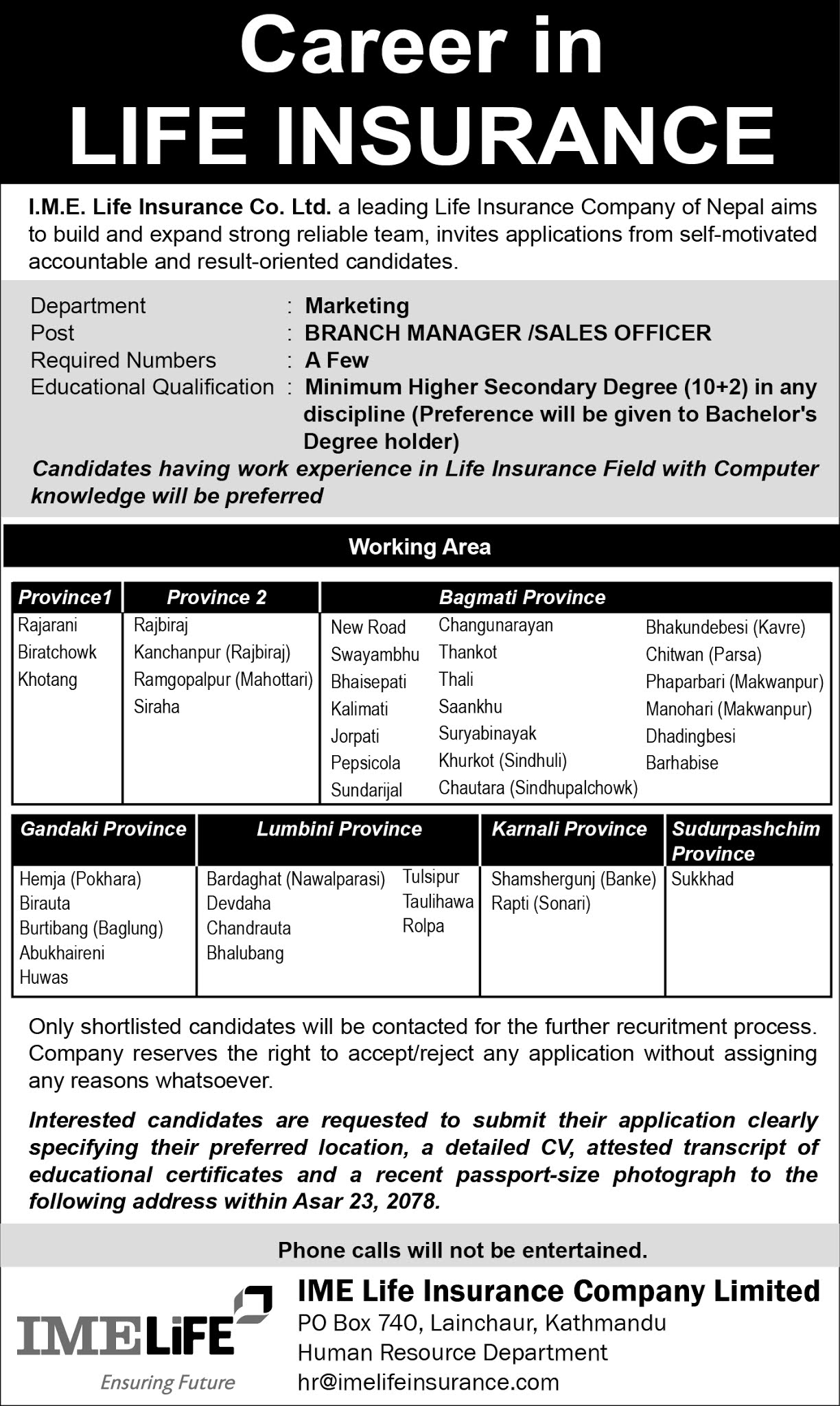 IME Life Insurance Company  Job Vacancy for Branch Manager and Sales Officer