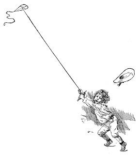 boy kite vintage image artwork drawing clipart illustration