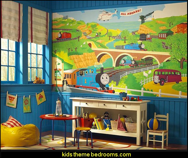 Thomas the Tank Chair Rail Mural  Train themed bedroom decorating ideas - boys bedroom train theme decor  - train themed beds - train themed furniture - train theme bedding - train theme decorations - Thomas the tank bedroom - Thomas the tank theme bed - old world train themed bedroom - vintage style trains wall murals - choo choo trains wall decal stickers - Train Theme furniture