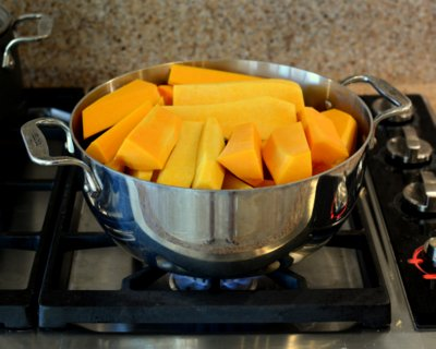 Steaming squash for Butternut Squash Soup that Actually Tastes Like Butternut Squash ♥ A Veggie Venture, just three ingredients, silky smooth and quite elegant.