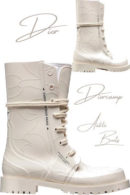 Ecru textured rubber Diorcamp ankle boots #brilliantluxury