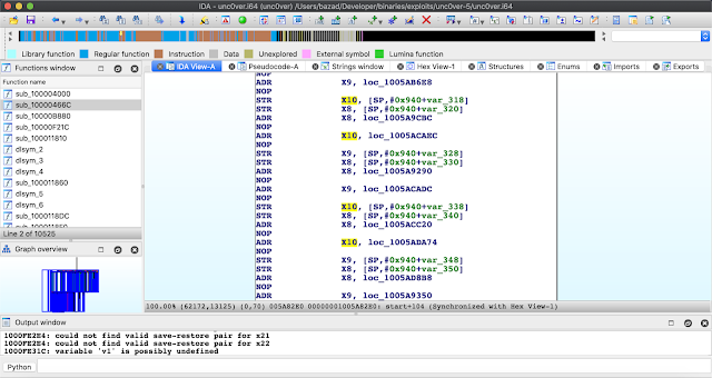 Image showing a screenshot of IDA Pro with heavily obfuscated code