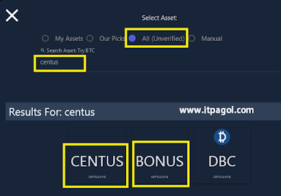 Select All unverified and Type Centus.