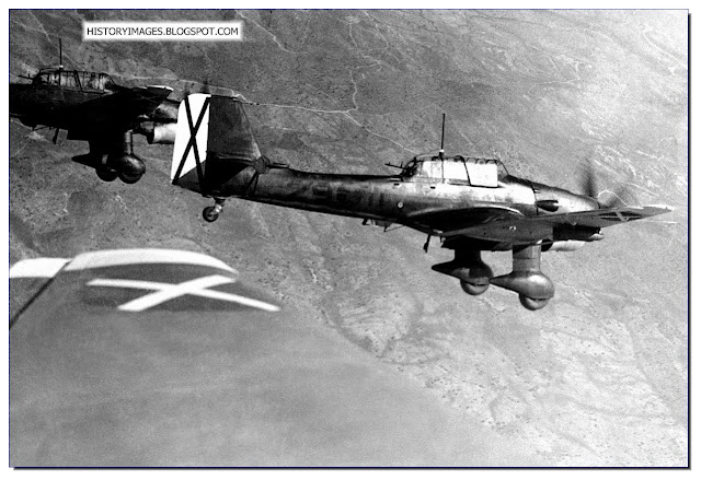 German Stuka Dive bombers fly Spanish skies