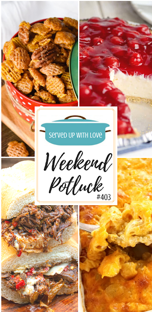 Weekend Potluck featured recipes include Praline Crunch, Hot & Spicy Beef, Grandmama's Cherry Cream Cheese Pie, Southern-Style Macaroni and Cheese, and so much more.