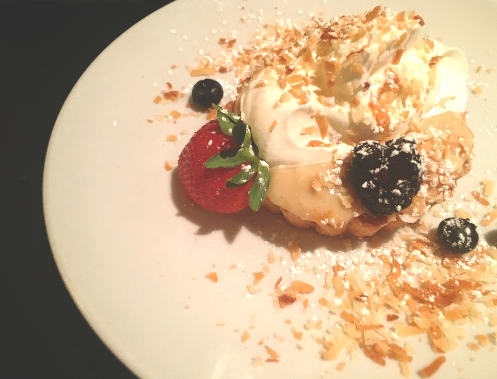 coconut cream pie at Shade, a restaurant in Houston, Texas
