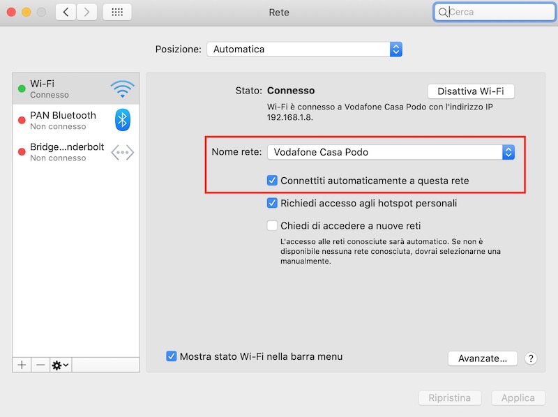 disattivare connessione rete wi-fi su mac1