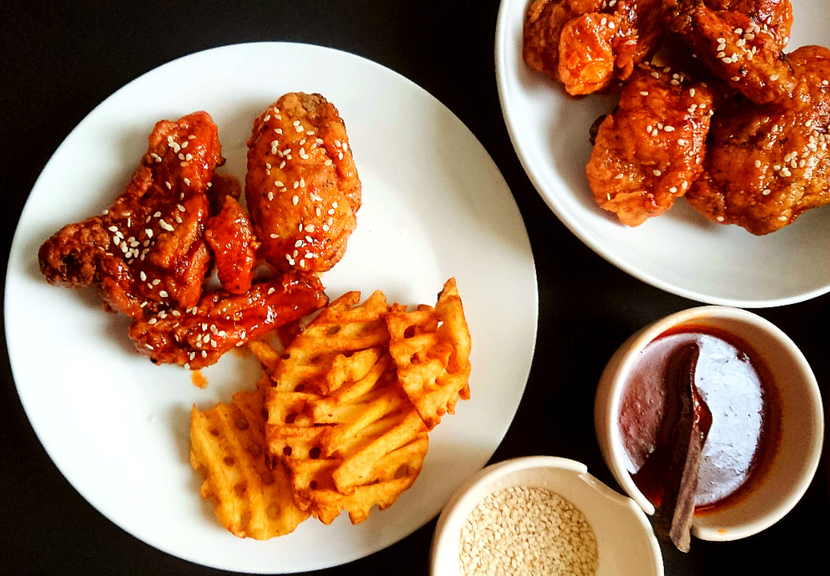 Allergy Friendly Honey BBQ Chicken with waffle fries on a plate