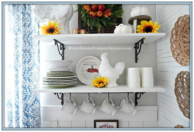 cottage farmhouse style fall decor-open shelving-From My Front Porch To Yours