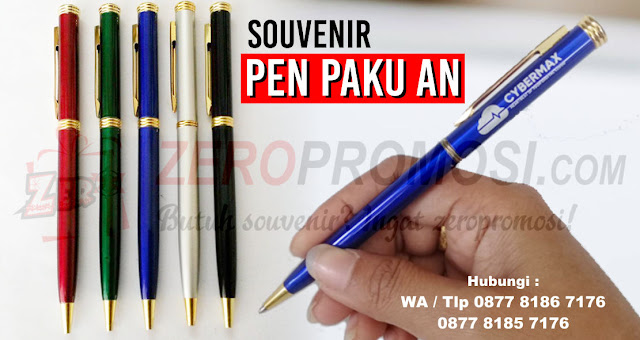 Souvenir Pen Paku, Pulpen Paku Stainless, pen besi model paku, pen paku AN