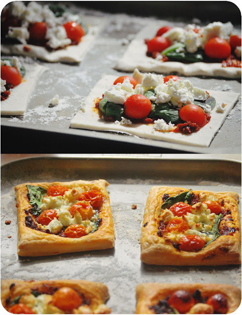 Spinach, feta and tomato tarts