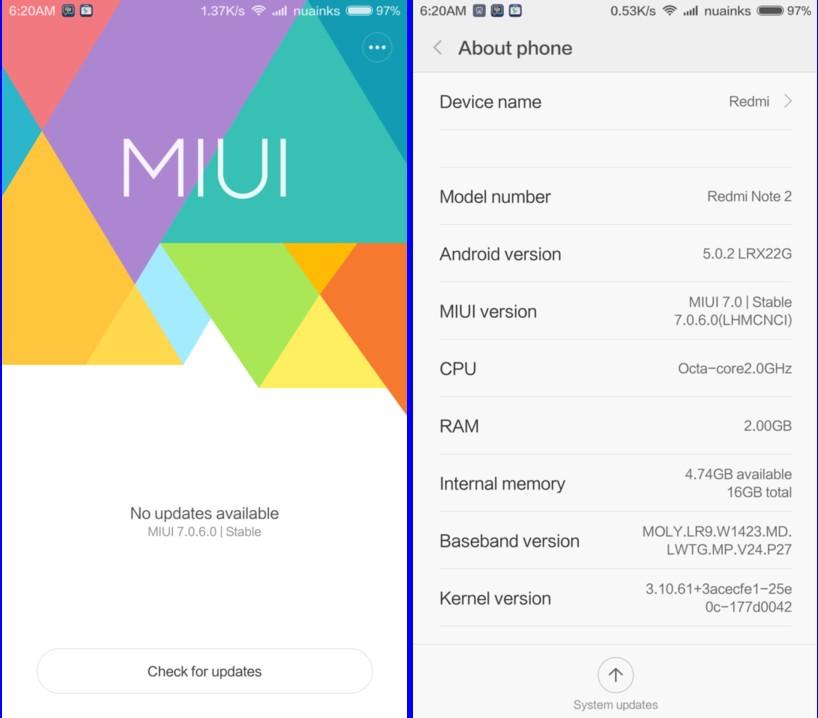 XIAOMI REDMI NOTE 2: MIUI 7 China STABLE ROM V7 0 6 0 Redmi
