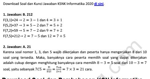 Pembahasan Ksnk Ksn K Osn Informatika Sma 2020 Pdf Tingkat Kabupaten Kota Revisi 6 Januari 2020 Tomatalikuang Com Berita Pendidikan Terbaru