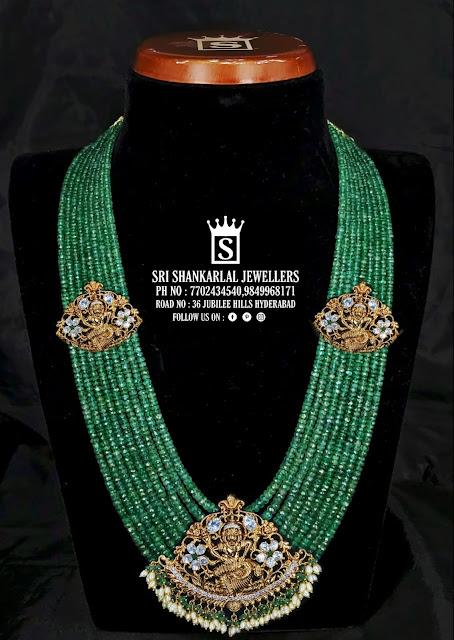 Emerald Beads Haram Vishnu Pendant