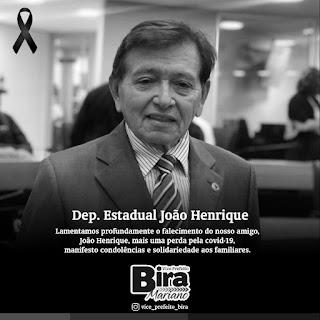 Prefeitura de Camalaú emite nota de pesar pelo falecimento do Deputado Estadual João Henrique