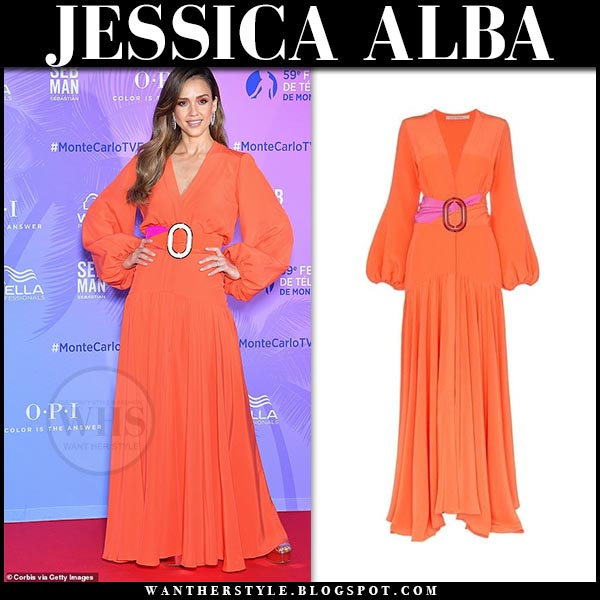 Jessica Alba in orange long sleeve belted dress by silvia tcherassi at monte carlo tv festival 2019