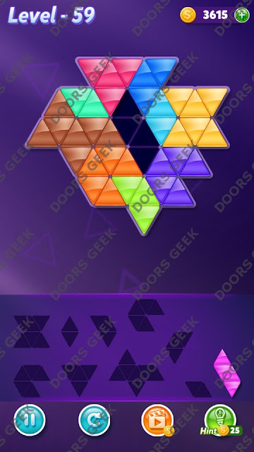 Block! Triangle Puzzle 10 Mania Level 59 Solution, Cheats, Walkthrough for Android, iPhone, iPad and iPod