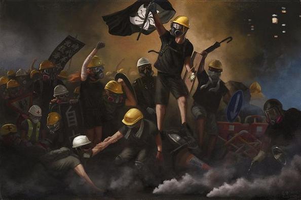 香港革命、黒い旗を掲げる若者たち