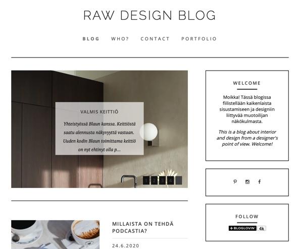 Kuvakaappaus raw design blogin etusivusta