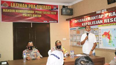 Polres Bintan laksanakan Latpraops Mandiri Kewilayahan Pekat Seligi 2020