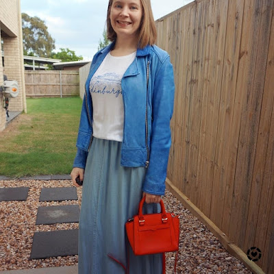 awayfromtheblue instagram | chambray skirt graphic tee and leather jacket winter mum style
