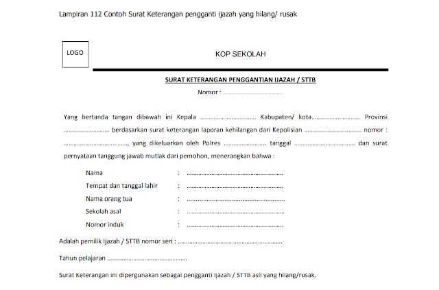 Contoh Surat Keterangan pengganti ijazah/STTB yang hilang atau rusak