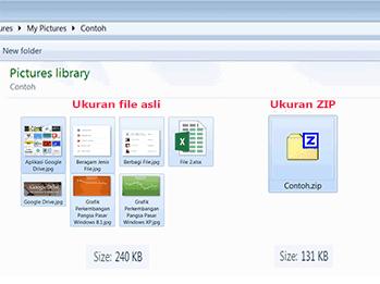 Perbandingan ukuran file zip dengan file asli