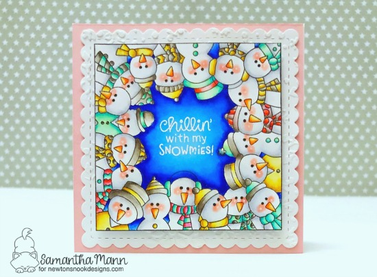 Snowman card by Samantha Mann | Snowman Party Stamp Set, Frames Squared Die Set, and Snowfall Stencil by Newton's Nook Designs #newtonsnook #handmade