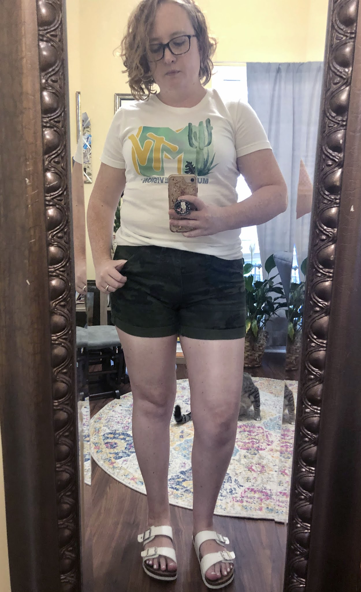 camo shorts outfit