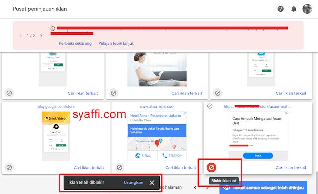 10. Iklan Google Adsense telah di blokir