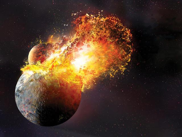 Hình ảnh đồ họa cho thấy khoảnh khắc thiên thể Theia va chạm vào Trái Đất và đánh văng rất nhiều vật chất vào không gian, những vật chất này tạo thành Mặt Trăng như ngày nay. Credit: Dana Berry/SwRI.
