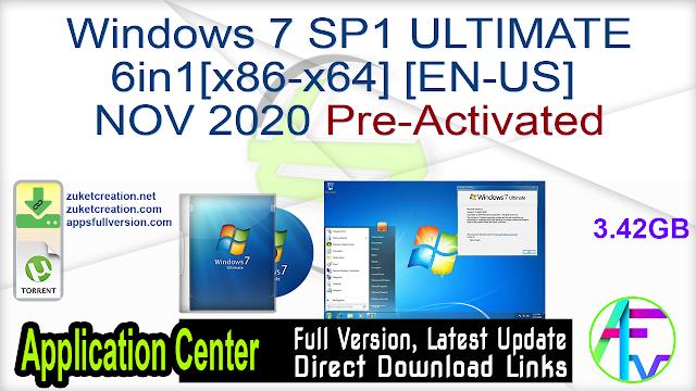 Windows 7 SP1 ULTIMATE 6in1[x86-x64] [EN-US] NOV 2020 Pre-Activated