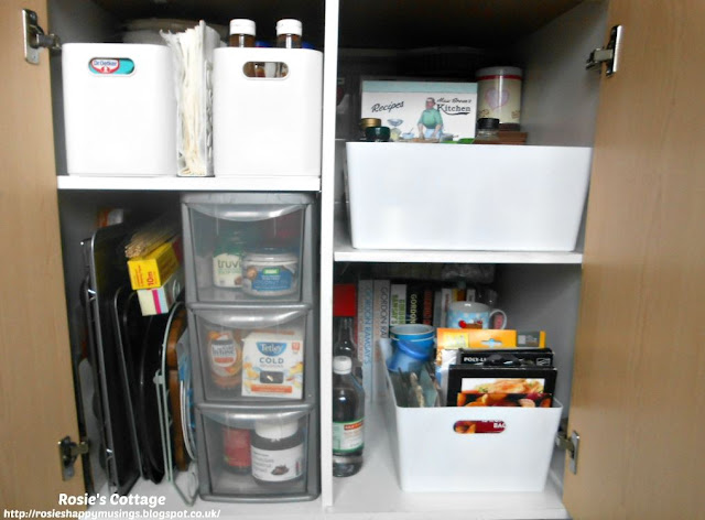 Kitchen Cabinet Re-Organisation: I'm so pleased with how this cabinet looked when completed.  It's so easy to use and I know exactly what's in there and exactly where everything is.