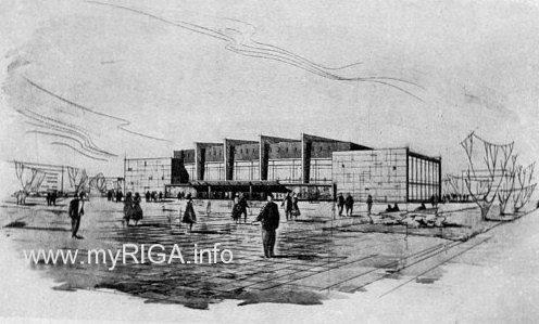 Проект рижского панорамного кинотеатра на 2500 мест (архит. Д. Даненберга, П. Фогель, О. Крауклис) на участке между улицами Кр. Барона, Артилерияс и П. Стучкас (Тербетас).