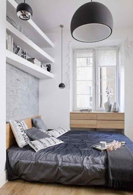 Small+Bedrooms+Ideas-Lamps+Gray+Wall+Color
